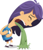 Vector of girl with purple hair vomiting green liquid.