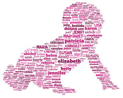 plethora of girls names written pink to form the shape of a crawling baby
